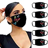 757 5PC Adult Face Macks Washable UK Butterfly print Face Bandanas, Skincare Reusable Outdoor Mouth Covering, Comfortable, Breathable