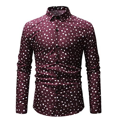 Ocuhiger Camisa De Vestir Clásica De Moda para Hombres Camisa De Negocios Informal De Ajuste Estándar Regular Slim Tops De Manga Larga con Botones Blusa Estampado Floral Rojo Vino