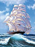DIY 5D Diamond Painting Kits Full Drill Sailing Ship Paint with Diamonds Embroidery by Numbers Cross Stitch Rhinestone Art Craft for Home Wall Decor 12x16 inch