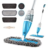 Microfiber Spray Floor Mops for Floors Cleaning,POPTEN 360 Degree Cleaning Kitchen Mop with 640ML Refillable Bottle,3 Washable Mop Pads and 1 Scraper Dust Mop Wet Mop for Laminate ,Hardwood,Ceramic,Vinyl Plan,Tile,Wood Flooring-Blue & Grey