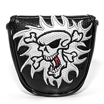 Golf Accessory - Skull Skeleton Mallet Putter Cover Headcover Magnetic Club Protector fits for Odyssey Red O Works Style Putters RH LH