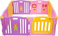 ZXRET Baby Fence, Baby Play Fence, Plastic Children'S Family Playground Indoor And Outdoor Pen With 8 Color Panels