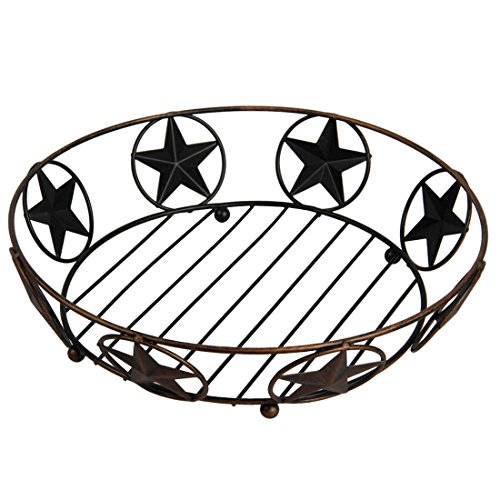 Ai.Moichien Vintage Crafts Fruits Basket With Texas Stars Patterns Wire Fruit Tree Bowl Stand—Perfect for Fruit, Vegetables, Snacks, Household Items (Bronze)