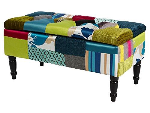BHP Patchwork Sitz Bank Stau Raum Textil Stoff gepolstert Ablage Mehrfarbig B412359