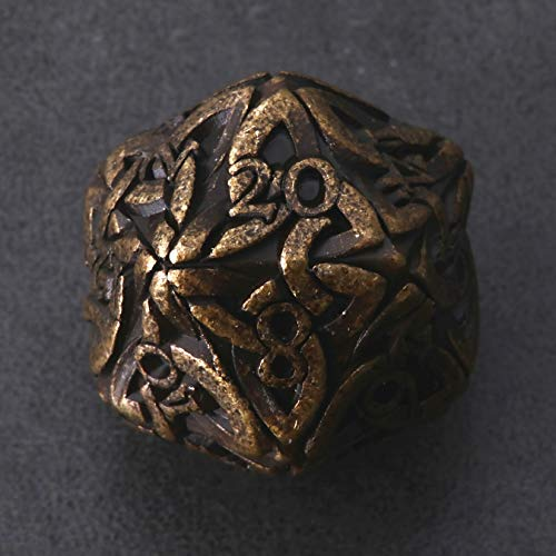 Endless Destruction Dice (Tarnished Gold) D20 Dice Celtic Knots Solid Metal Extra Large & Heavy for DnD Dungeons and Dragon Call of Cthulhu Pathfinder RPG Polyhedral Dice Barbarian Ranger Dice