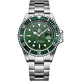 Fanmis Green Dial Rotatable Bezel Sapphire Glass Luminous Hand Quartz Mens Womens Stainless Steel Watches