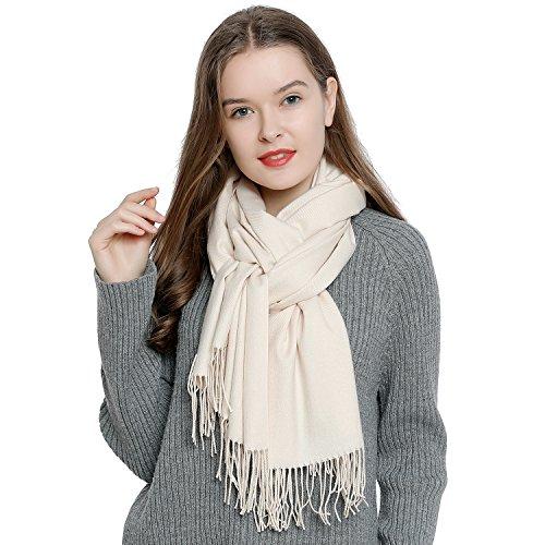 DonDon Damen Schal einfarbig weich 185 x 65 cm creme