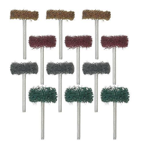 Roeam Mini-borstel, 12 stuks, die de oplegger van nylonvezel, slijpkop, polijstmachine, draaigereedschap, elektrisch slijptoebehoren aanbrengt