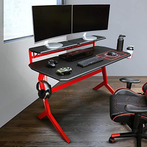 Techni Sport Bureau de jeu – Bureau d'ordinateur – Disponible : bureau en forme de L, bureau d'angle, petit bureau – Bureau de jeu parfait Stryker Red