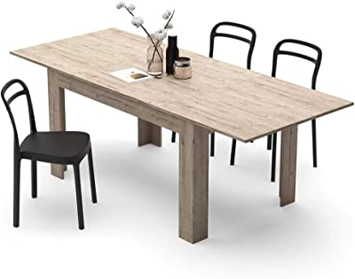 MOBILI FIVER, Table Extensible Cuisine, Easy, Chêne Naturel, 140 x 90 x 77 cm, Mélaminé, Made in Italy