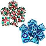 Juego de Dados de Escritorio Dice Set Game Dice Dice Color DE DICOS DE Metal DE 24 CIDES Accesorios DE APECTORES (2 Sets) Multifunción (Color : Color 4, Size : 20mm)