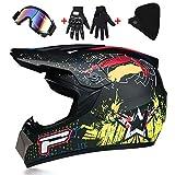 Adult Motocross Helmet, with Goggles/Off-Road Gloves Mountain Bike Full Face Helmet Motorcycle Scooter ATV Helmet D.O.T Certified for Men Women