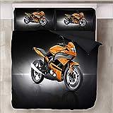 HDBUJ Motocross 3D Schwarzer Bettbezug, Mit Reißverschluss, Polyesterbettwäsche, Zwei Kissenbezügen, Einzelbett (Doppelbett) 220X260Cm