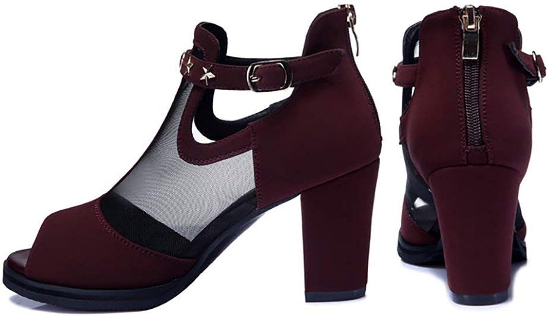DEED Schuhe-Mesh Schuhe-Mesh Legging hochhackige Sandale Slipper Rivet Style Schnalle Krawatten Reife weibliche (8Cm Ferse) Casual Wilde Bequeme Schuhe  bis zu 70% sparen