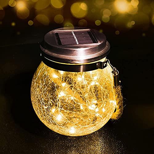 Qxmcov Lanterne da esterno Solari,Luci Solari Giardino,Lanterna Solare di vetro con 30 LED,Luci Decorativa per Giardino,Festa,Terrazza,Gazebo (1 Pezzi)