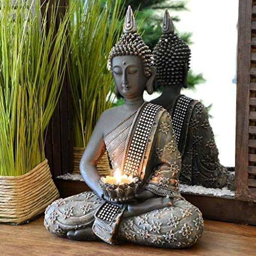 INtrenDU - Figura decorativa con diseño de Buda chino de 31 cm. con candelabro, decoración zen para interior Feng Shui