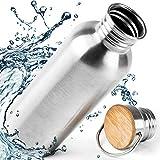 Pure Design Trinkflasche Edelstahl 1l - 1000ml, 750ml, 500ml, 350ml mit Bambus Kappe, Leicht Auslaufsicher Edelstahlflasche für Sport und Büro - Kein Plastik & Ohne Logos, BPA Frei,...