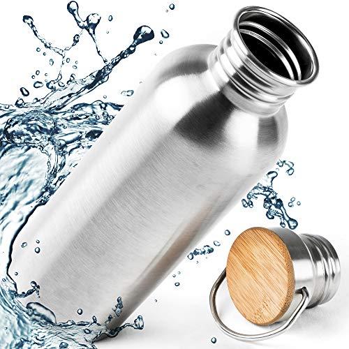 Pure Design Edelstahl Flasche 1L (1000ml) mit Bambus Kappe, Auslaufsicher Wasserflasche Kein Plastik, Ohne Logos Ohne Etikett, BPA Frei für Kinder, Fitness, zum Wandern - Lebensdauer GARANTIE