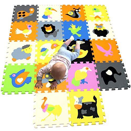 MQIAOHAM 18 stks zachte kids schuim speelmat kruipen baby speelkleed matten tapijt vloer voor kinderen niet giftige activiteit tapijttegels veiligheid antislip dier P011032G321218