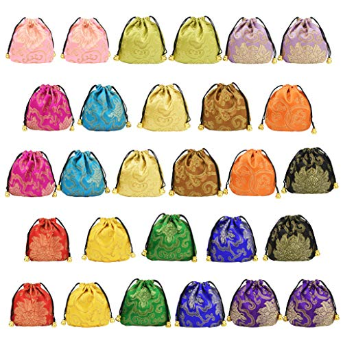 Fengek 28 Pcs Silk Brocade Jewelry Bags, 4.33 x 4.33 Inch Chinese Drawstring Pouches Coin Purse Gift Bags for Jewelry Necklaces Rings, 14 Colors