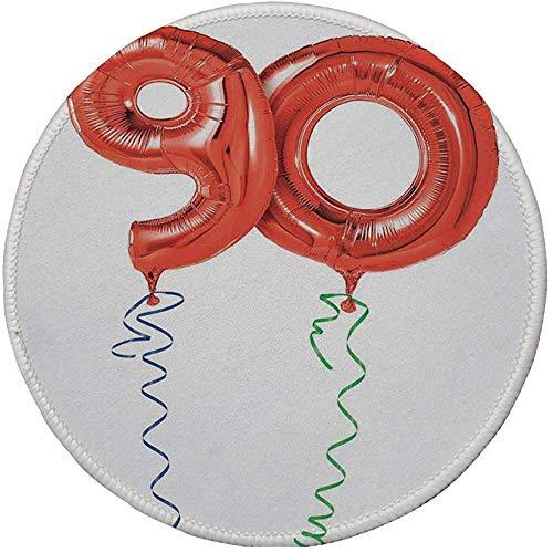 Rubberen ronde muismat, 90e verjaardag decoraties, vliegende ballonnen partij objecten krullend ronde linten verrassing, rood groen blauw