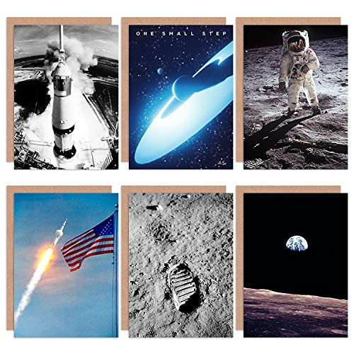 Apollo 11 Astronaut Aldrin Armstrong NASA 50th Anniversary Moon Landing All Occasions Various Assorted Blank Greeting Cards with Envelopes Pack of 6 Luna