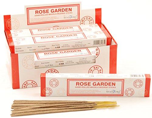 Stamford - Varillas de Incienso con Aroma a jardín de Rosas, Lote de 12 Paquetes