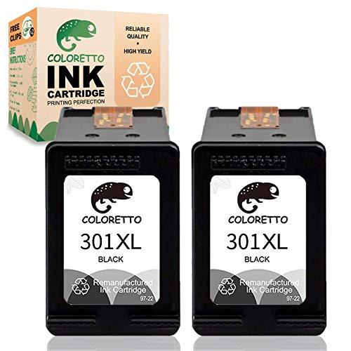 COLORETTO Cartucho de Tinta Remanufacturado para HP 301 XL 301XL (2 Negro) Compatible con Deskjet 1000 1010 1050 1055 2050 2510 2512 2540 3000 3050 3052A 1051 1510 1512 2000 2514 2542 Impresoras