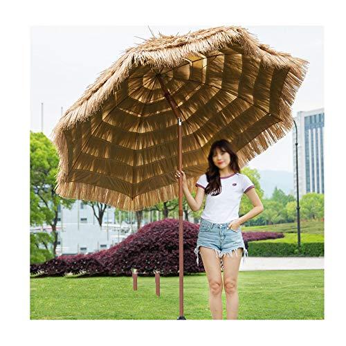 Gartenschirm Sonnenschirm 240CM / 300CM breit Tropisch Hawaii Schirm für Strand, Pool, Patio, Camping,Urlaub,UV-Schutz Bastschirm Neigefunktion