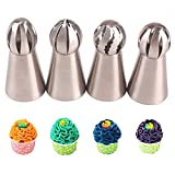 4PCS Russian Piping Tips Stainless Steel Piping Ball Tips Frosting Icing Piping Nozzles Cake Decorating Tips Set for DIY Baking Cake Decorating Supplies