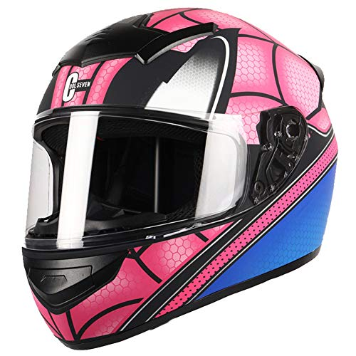 Dajie Casco modular de moto Crash, Spider Off-Road Casco Flip Up de cara completa, certificado DOT/ECE, rosa araña, XXXL