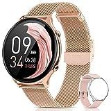 BANLVS Smartwatch Mujer, Reloj Inteligente Mujer IP68 con Pulsómetro, 24 Modos Deportes, SpO2, Menstrual Registro, Monitor de Sueño y Caloría, 1.28 Inch Táctil Completa Smartwatch para Android iOS Oro