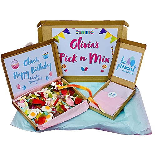 Pick And Mix Sweets 425g, Personalised Letter Box Sweet Box | Fun Sweets Gift Box | Retro Sweets Snack Box | American Candy Sweet Hamper | Bulk Sweets Hamper Basket | Sour Sweets