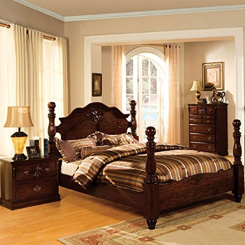 247SHOPATHOME Poster bed, King, Walnut