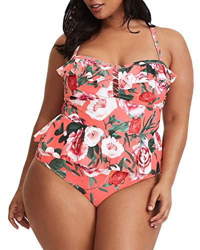 Tutorutor Damen Tankini, Übergröße, mit Schößchen, Bauchkontrolle, 2-teilig, Blumenmuster, Retro-Badeanzüge - - 4X-Large