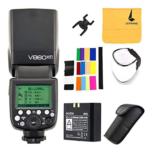 Godox V860II-F TTL Flash pour Fuji Caméra 2.4G sans Fil HSS 1/8000s avec Haute Performance Li-ION...