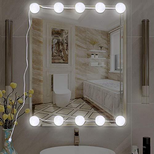 Eillybird Led-spiegellamp, make-uptafelverlichting, 10 ledlampen in Hollywood-stijl, usb-make-uptafel, spiegel niet inbegrepen
