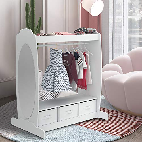 Mecor Kids Dress Up Storage with Mirror, Clothes Hook, Shelf and Rod - Kids Armoire with Fabric Storage Bins (White)
