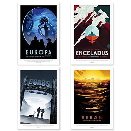 """Nukular 4er Set Kunstdruck Poster A3 """"Monde"""" Original NASA (JPL) Design"""