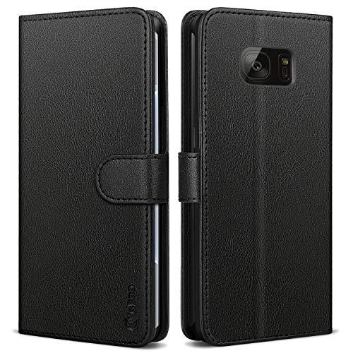 Vakoo Wallet Serie Handyhülle für Samsung Galaxy S7 Edge Hülle, Schwarz