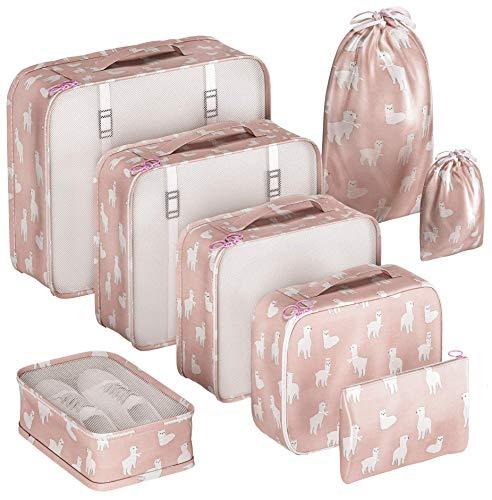 EVEK Packing Cubes Organizers Set for Bag Travel Luggage (Pink Alpaca 8)