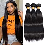 Mariska 10A Straight Human Hair Bundles Virgin Brazilian Straight Hair 3 Bundles (12 14 16) 100% Unprocessed Human Hair 3 Bundles for Black Women (12 14 16, natural color 3 bundles)