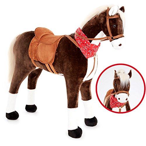 KNORRTOYS.COM Großes XXL Standpferd Liana mit Sattel Braun Pferd Stehpferd Reitpferd Reiten