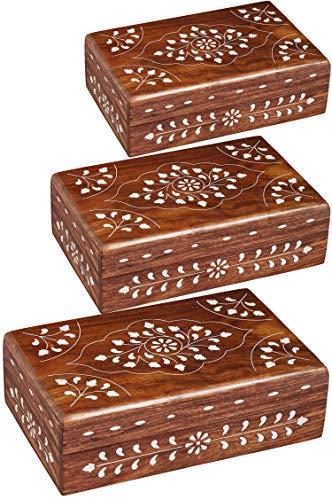 Oosterse kleine opbergdoos met deksel Devin groot | Oosterse sieradenkistje voor meisjes en dames voor het bewaren van sieraden | Marokkaanse kistje box van hout