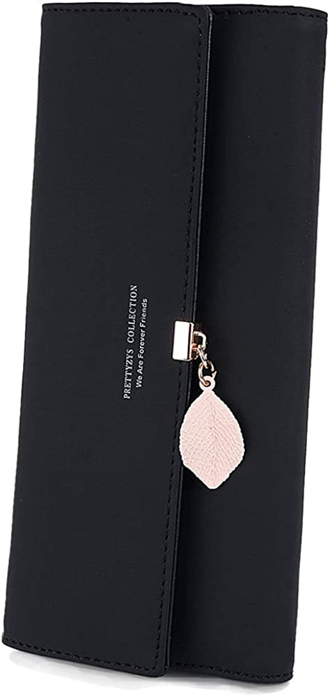 TCHH-DayUp Wallet for Women PU Leather Leaf Pendant Ladies Girl Cute Long Wallet