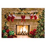 Funnytree Christmas Fireplace Backdrop Interior Vintage Xmas Tree Stockings Photography Background Portrait Photobooth Party Banner Decorations Photo Studio Props 7x5ft