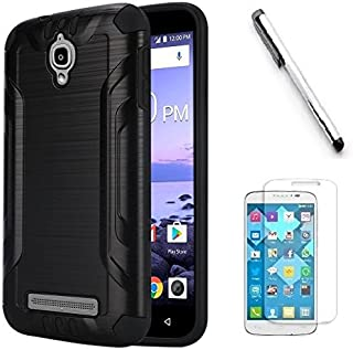 Coolpad Canvas 3636A Case, Luckiefind Slim Brush Texture Hybrid Defender Armor Protective Case Cover with Stylus Pen & Screen Protector Accessory (Black)