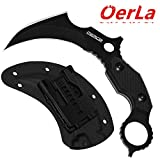 Oerla TAC OL-0019BE Battle Eagle Outdoor Duty Claw Knife Full Tang 420HC Stonewashed Stainless Steel Fixed Blade Double Edged Field Knife with G10 Handle Waist Clip EDC Kydex Sheath (Black)