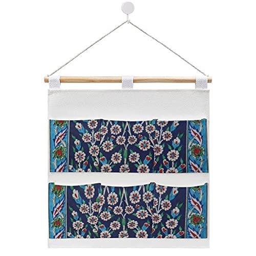 Bolsa de almacenamiento para colgar en la pared, azulejo turco azul y rojo con 6 bolsillos para la familia, baño, dormitorio, cocina