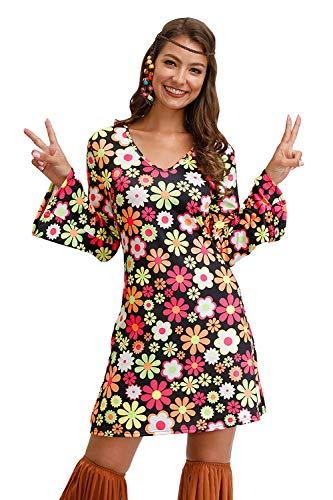 BesserBay Damens Halloween Hippie Kostüm 60er 70er Flower Power Party Kleider Schwarz S